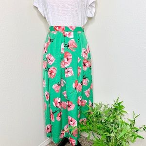 Who what wear green and pink floral midi skirt